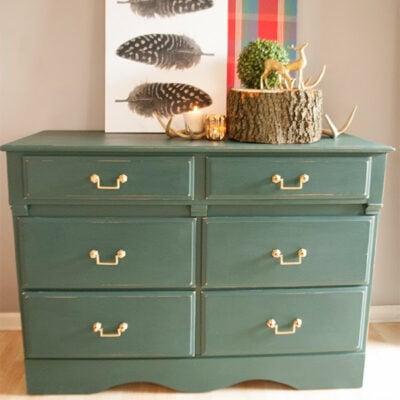 Green Traditional Dresser Makeover