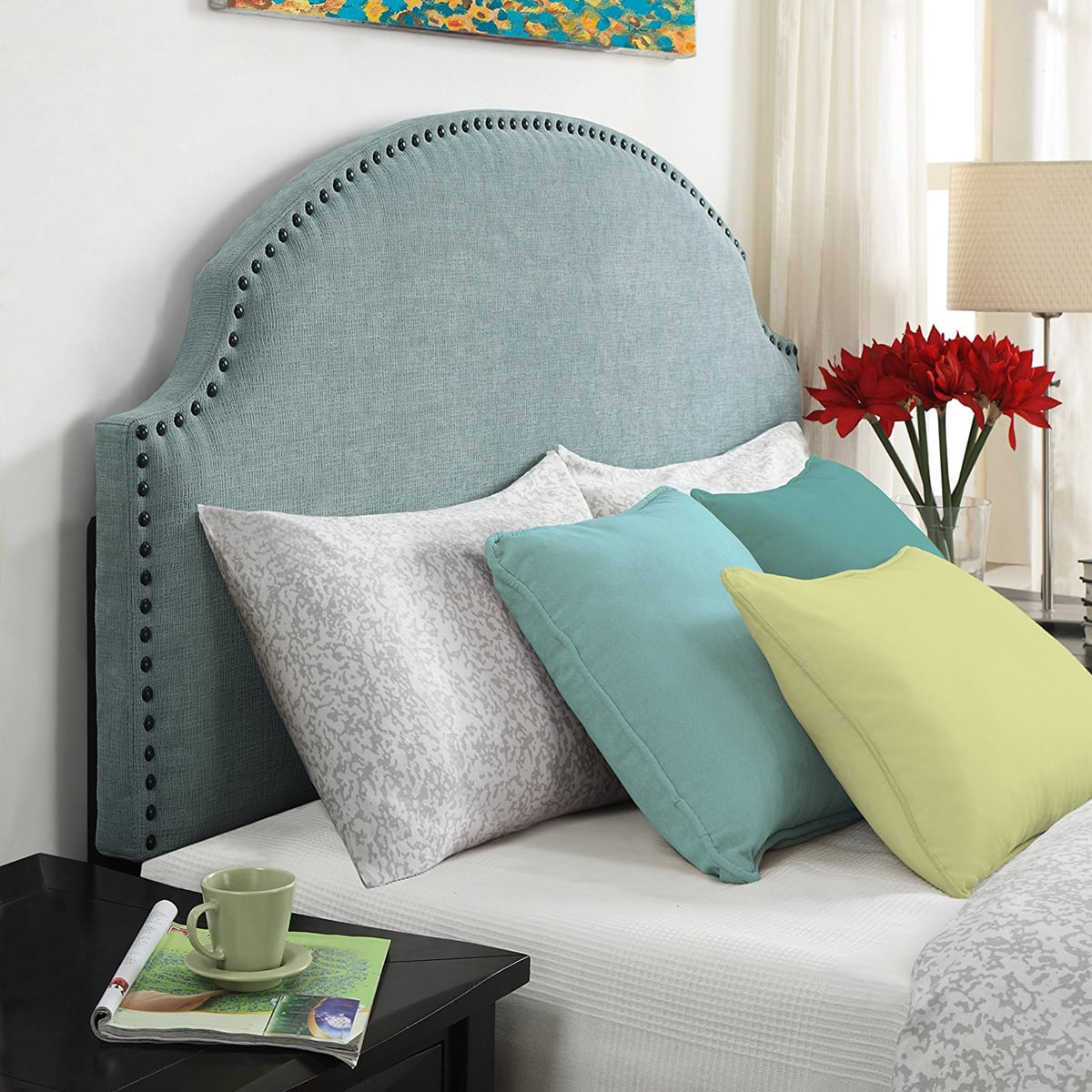 upholstered fabric headboard with nailhead trim