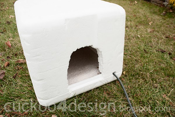 insulated igloo cat house made from styrofoam box