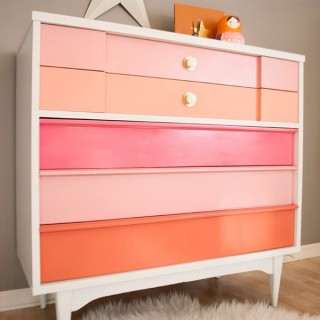 Pink, White and Coral Painted Midcentury Modern Dresser