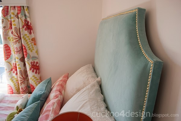 turquoise velvet DIY fabric headboard with brass upholstery nails