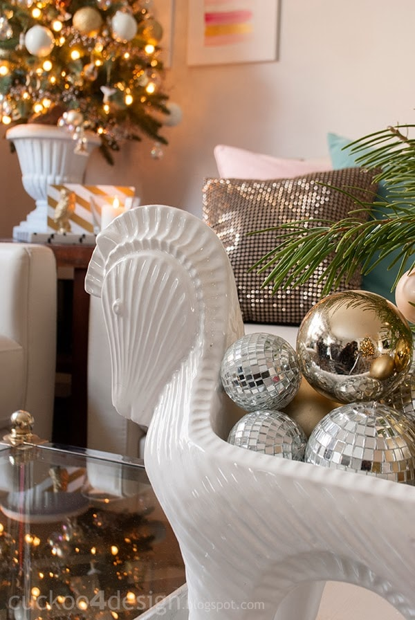 mixed metallics Christmas with turquoise and pink accents