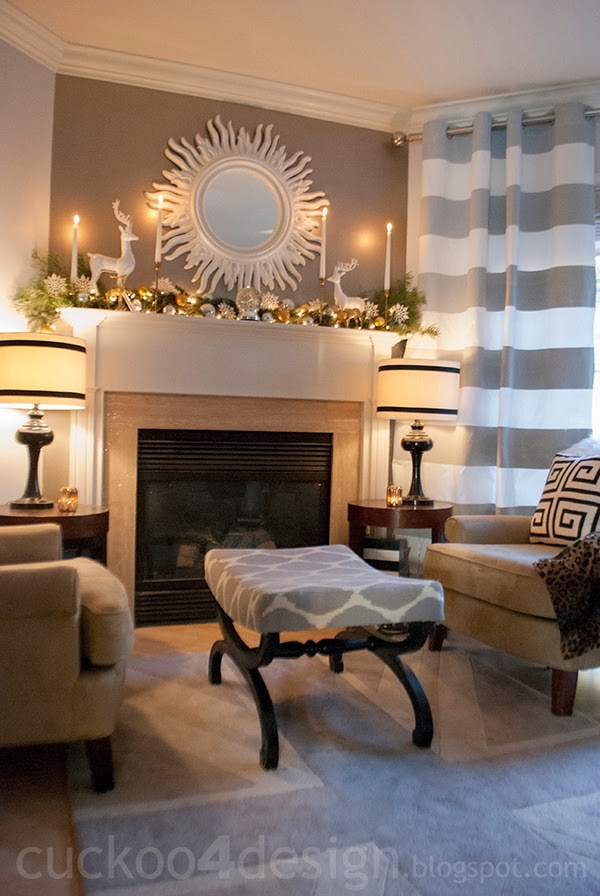 Colorful christmas home tour cuckoo4design for Area in front of fireplace