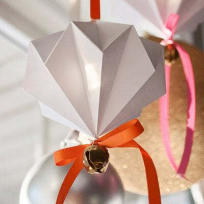 Origami Diamond Jingle Bell Ornament