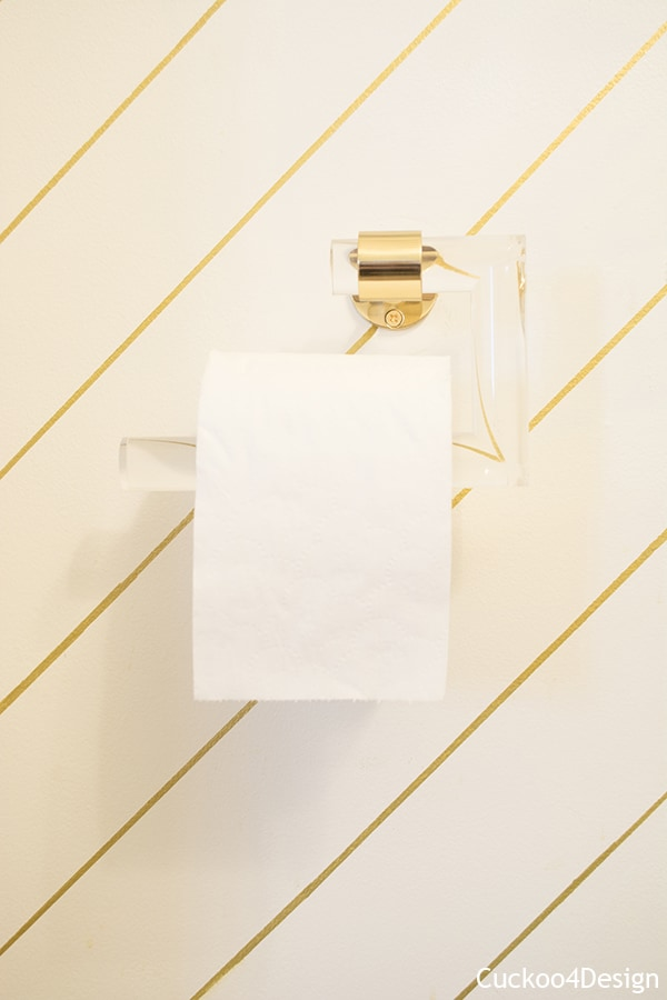 Lucite and Brass toilet paper holder