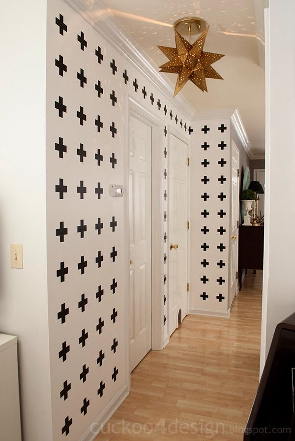 black and white cross wall treatment