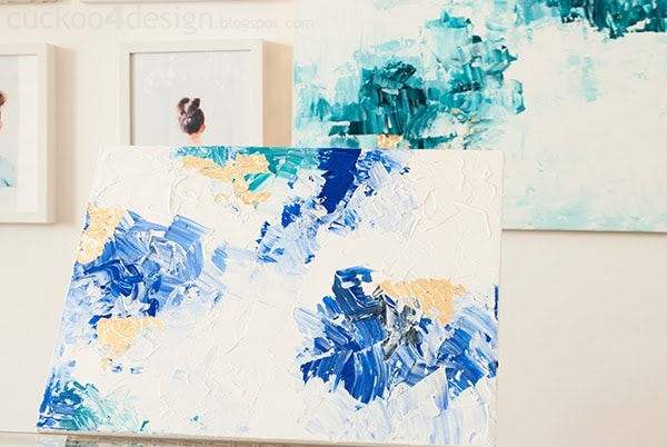 easy to paint blue, green, turquoise and gold abstract art