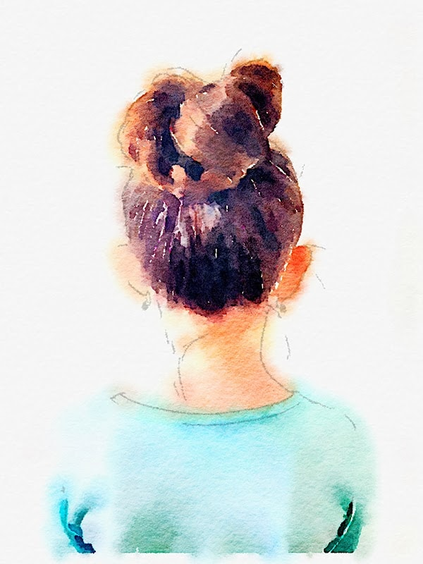 finished watercolor image of daughter's bun when she was little