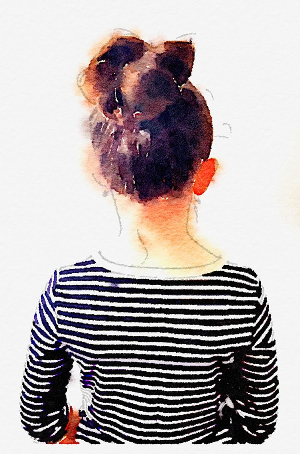 striped shirt and topknot for watercolor print