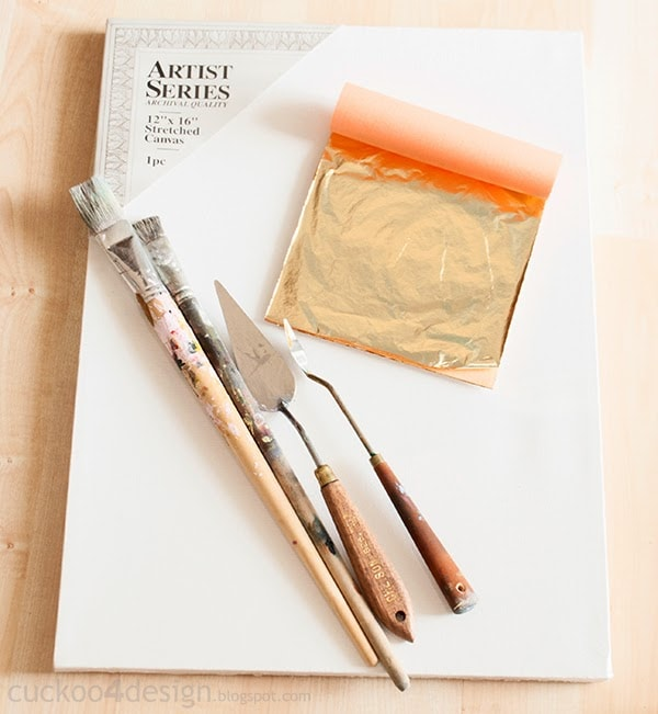 gold foil, spatulas, brushes and canvas needed for easy abstract art
