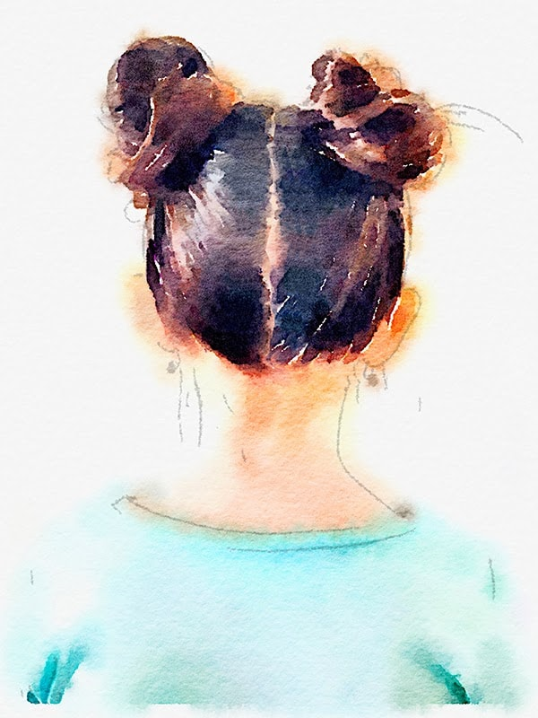 two top knot hairdo for watercolor print