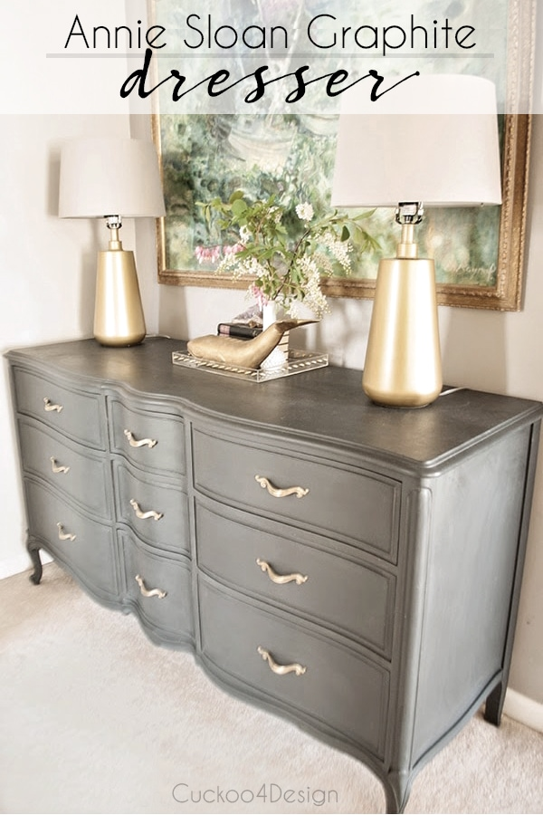 French Provincial Annie Sloan Graphite dresser makeover