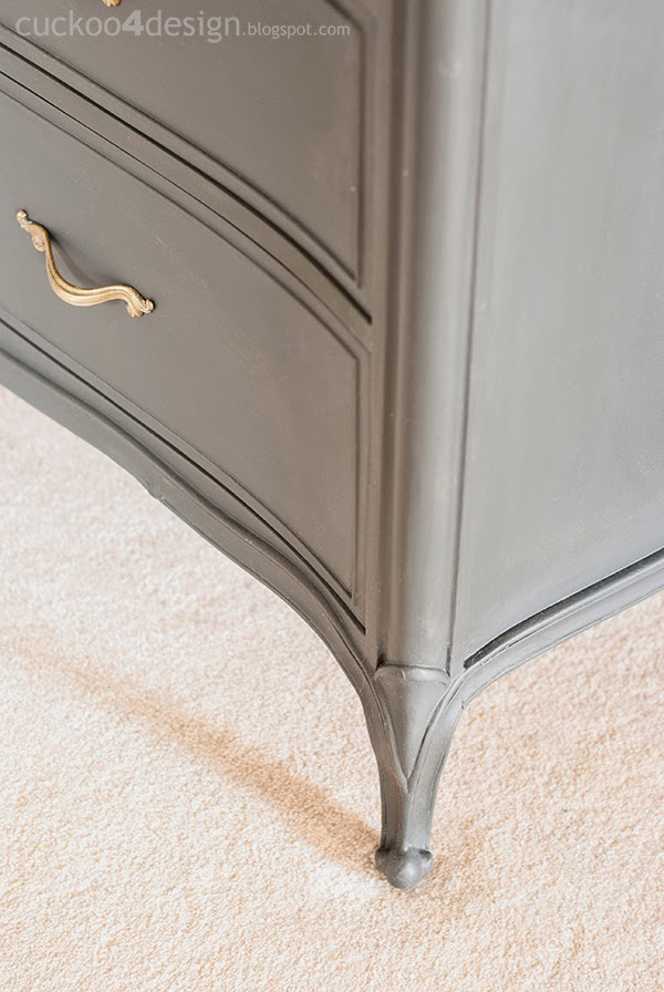 legs of Annie Sloan Graphite French Provincial dresser