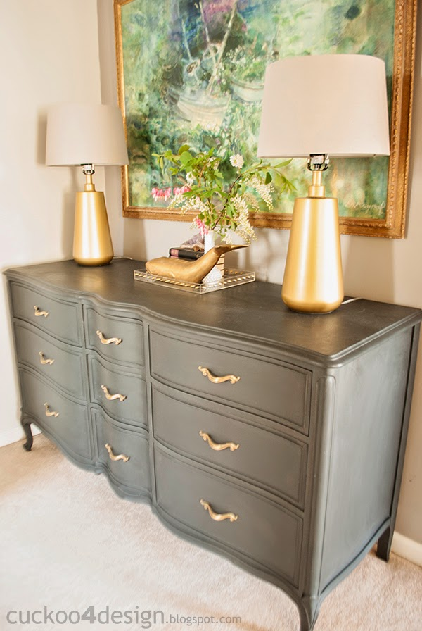 Annie Sloan Graphite dresser with brass hardware