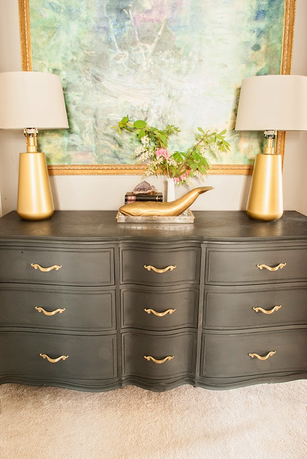 dark gray Annie Sloan Graphite paint on dresser