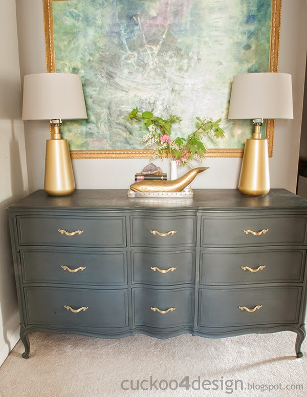 Annie Sloan Graphite dresser in upstairs hallway