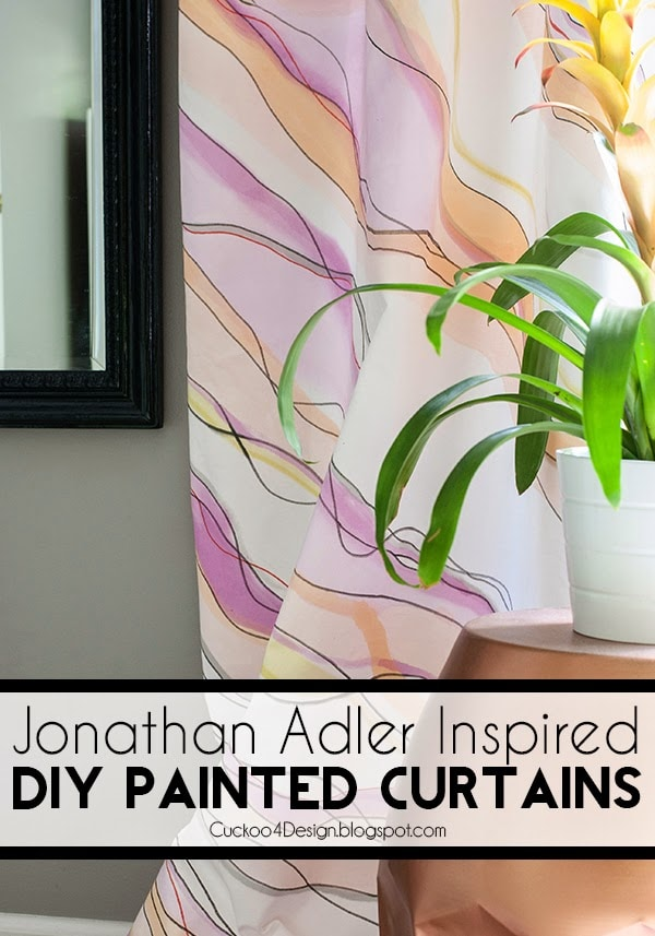 Find out how to paint marbled watercolor curtains that were inspired by a Jonathan Adler box | watercolor curtains | curtain tutorial | painted curtains | colorful curtains | how to paint curtains | marble effect curtains