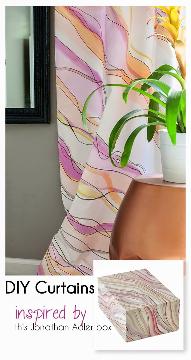 watercolor curtains inspired by marbled box