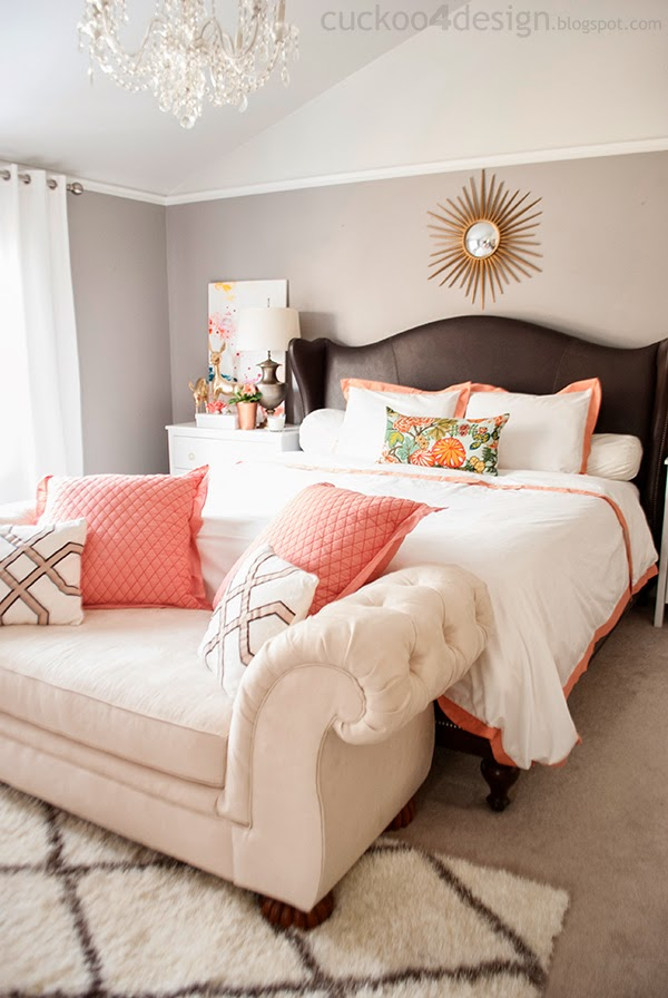 blush, pink, copper, bedroom