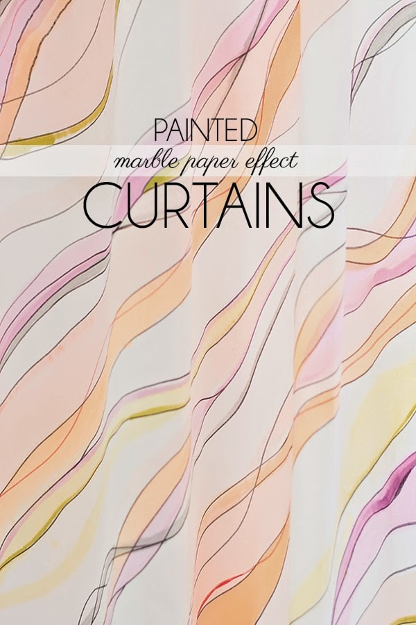 DIY marble painted watercolor curtains