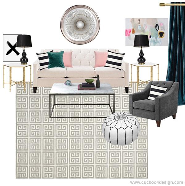 elegant colorful living room moldboard - Cuckoo4Design