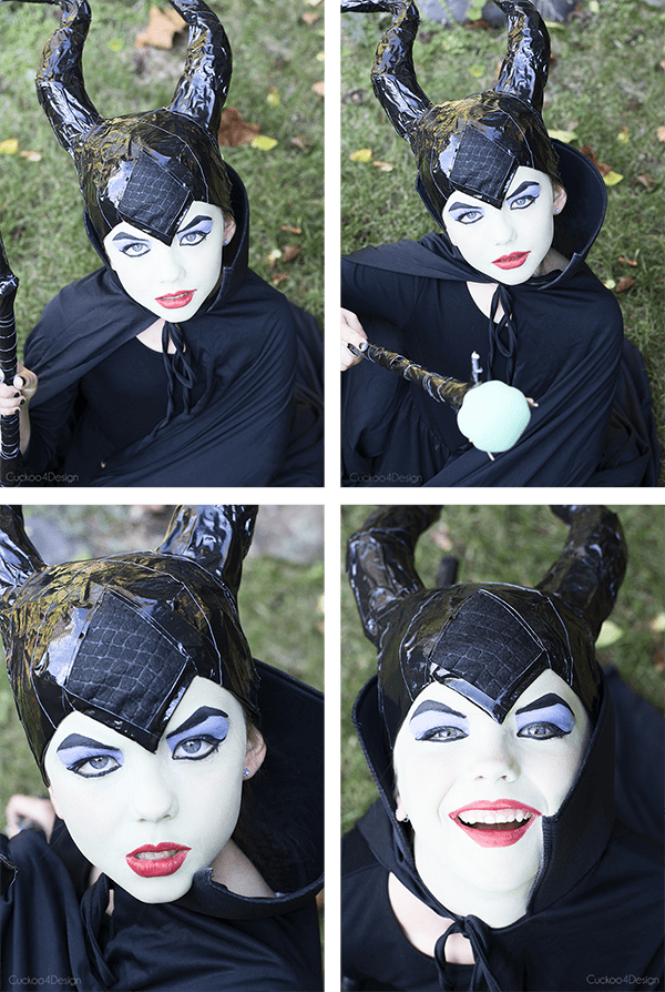 collage of diy maleficent costume