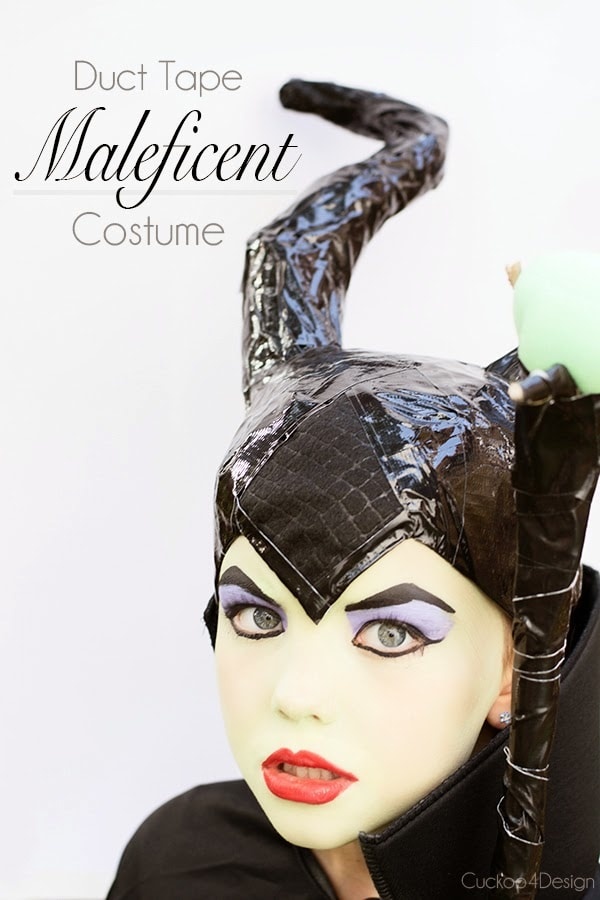 view of duct taped diy maleficent costume head piece