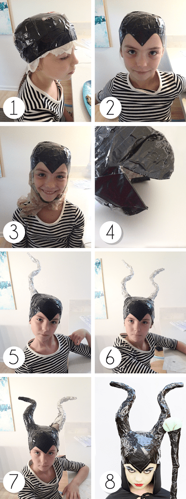 step one through eight for diy maleficent costume