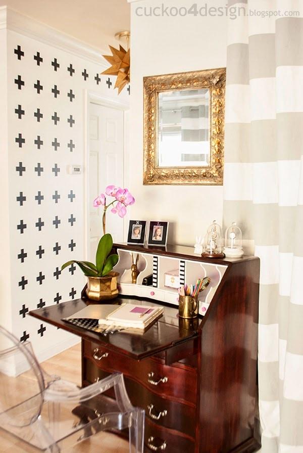 Vintage Queen Anne desk makeover with a modern twist