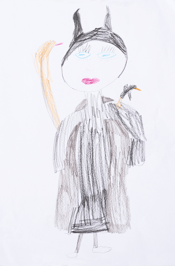 sketch our daughter made of diy maleficent costume