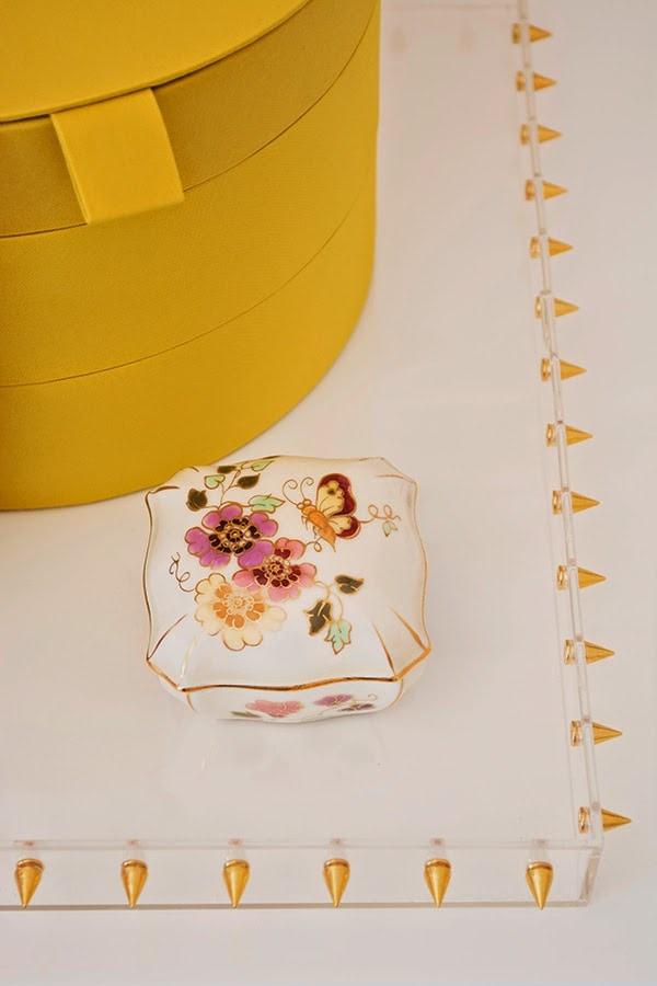 DIY studded acrylic/lucite tray