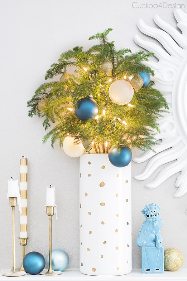 teal gold and white christmas mantel