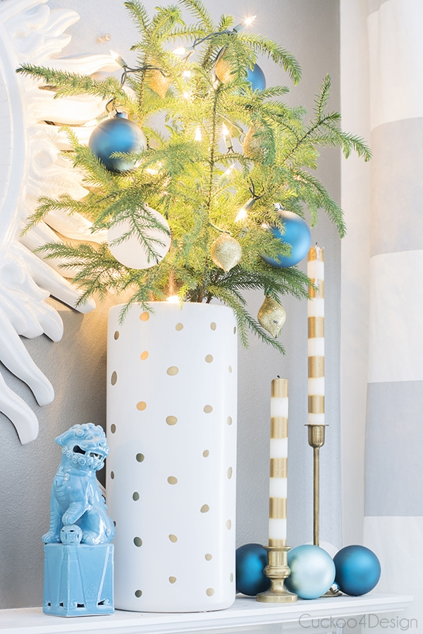 turquoise, white and gold Christmas mantel
