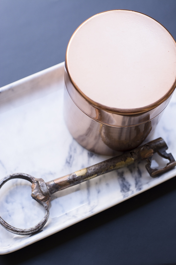 H&M faux marble tray and copper canister