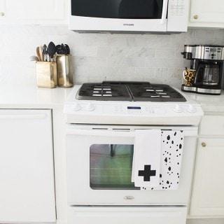 Swiss Cross Fabric Painted Floursack Dishtowels