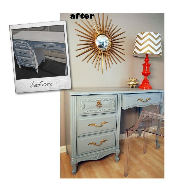 french provincial desk makeover by cuckoo4design