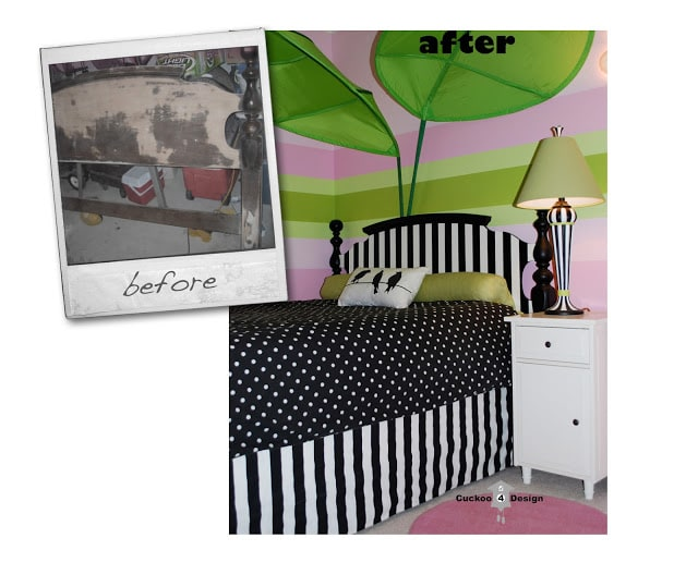 DIY black and white striped headboard by cuckoo4design