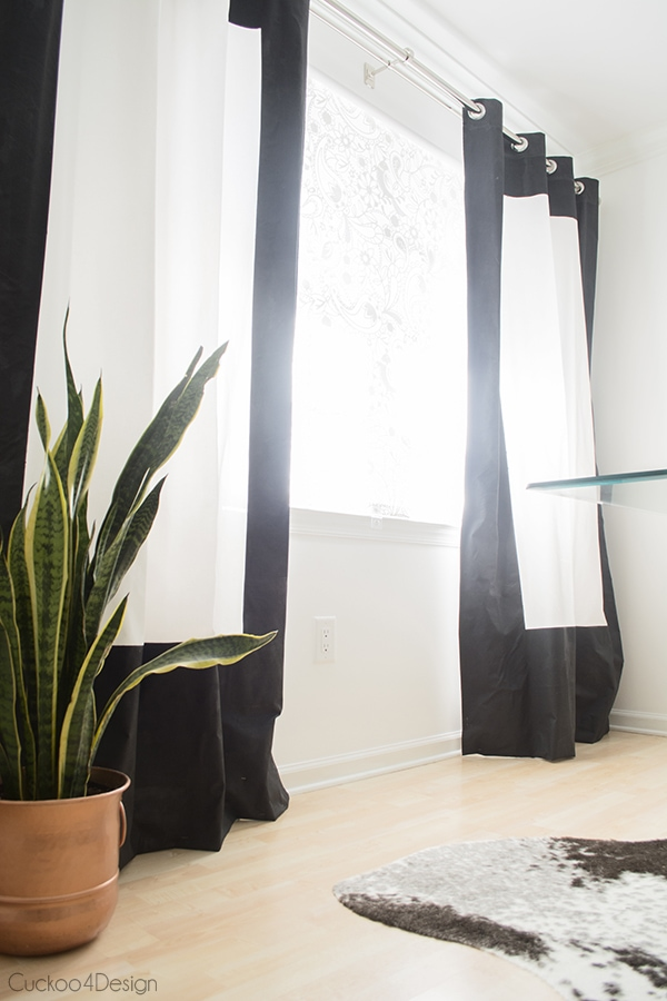 black and white fabric painted curtains