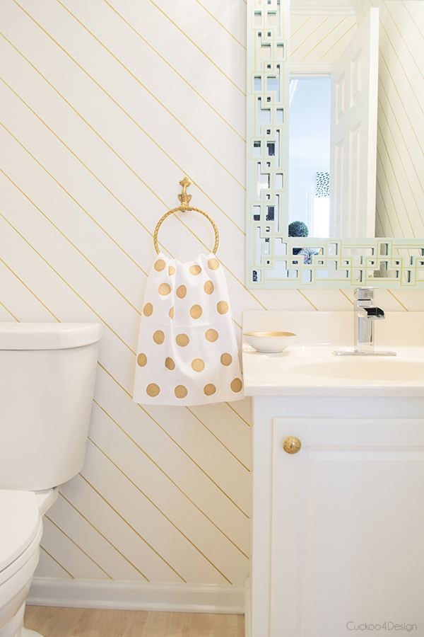 gold, white and mint powder room
