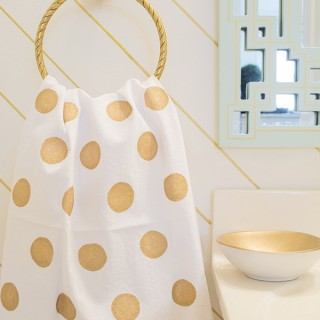 DIY Fabric Painted Gold Polka Dot Towel