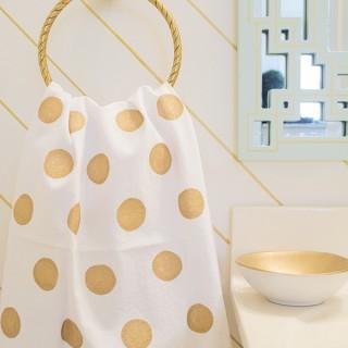 DIY Fabric Painted Gold Polka Dot Towel