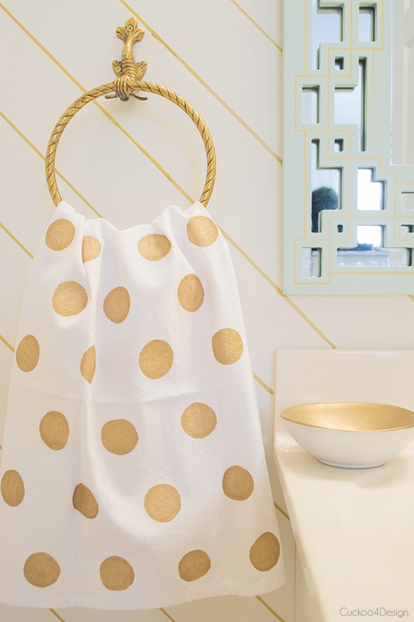 gold polak dot towel