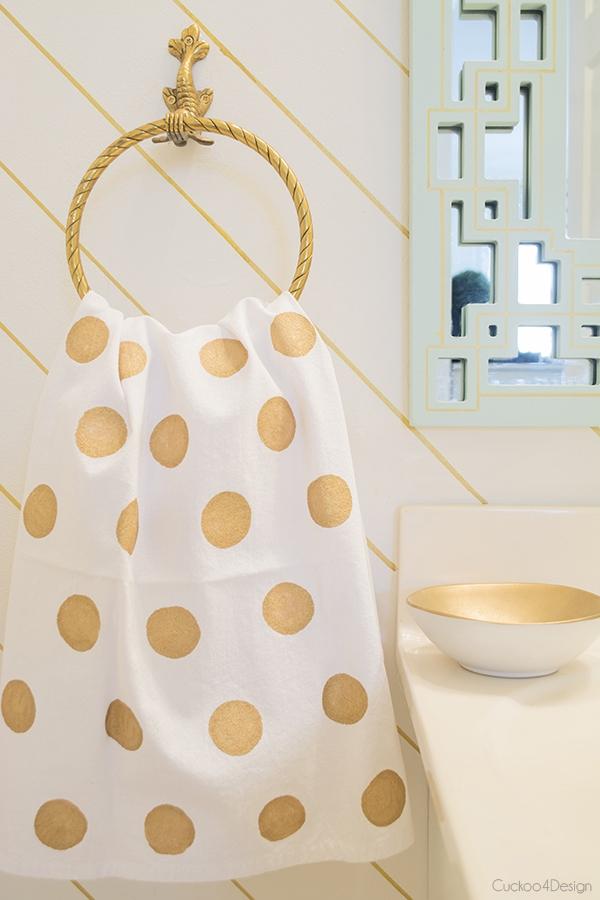 DIY Painted Gold Polka Dot Towel