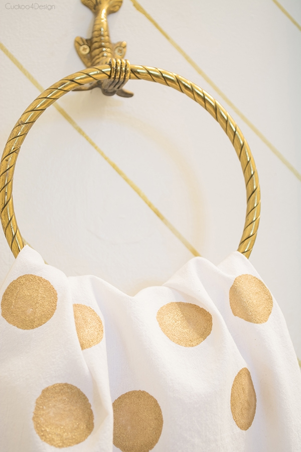 gold polka dot towel