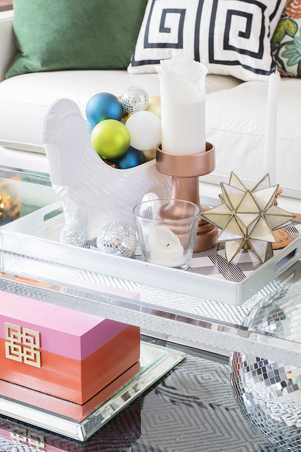 colorful coffee table vignette for Christmas