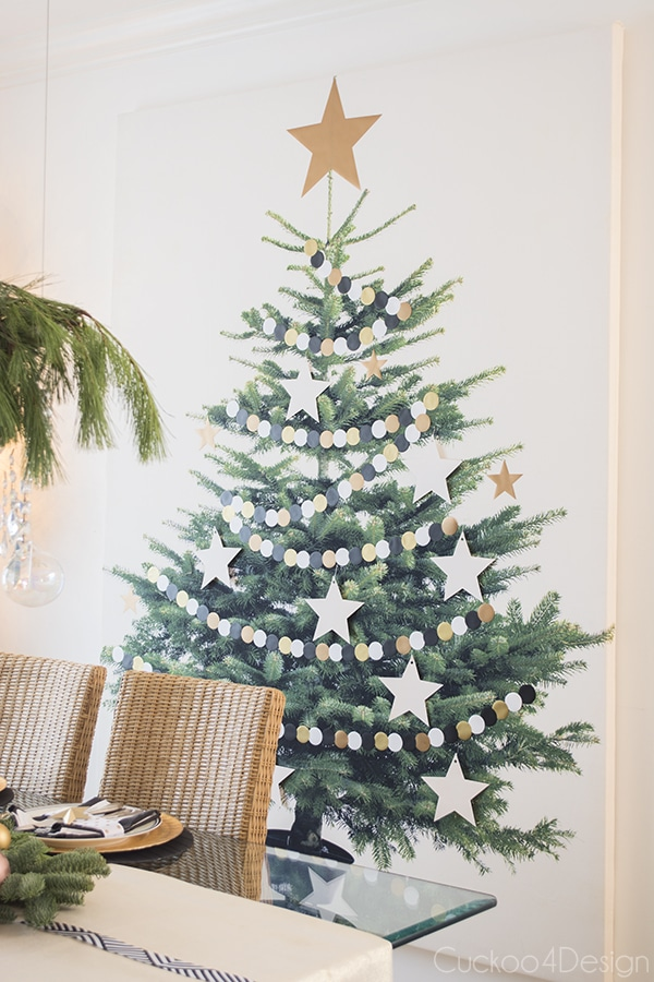 decorated Ikea Christmas tree canvas
