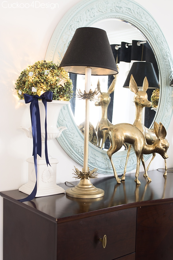 Christmas sideboard in blue and black