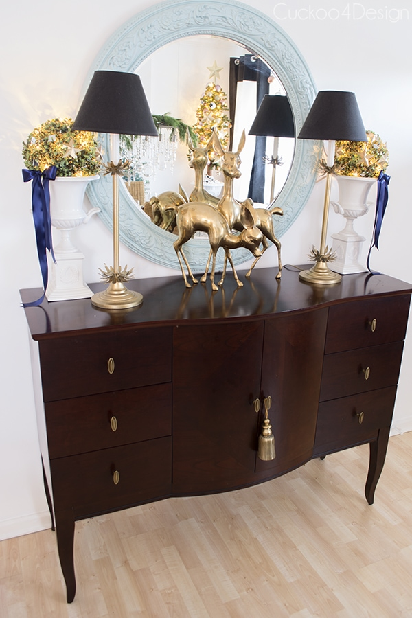 blue, black and gold Christmas sideboard