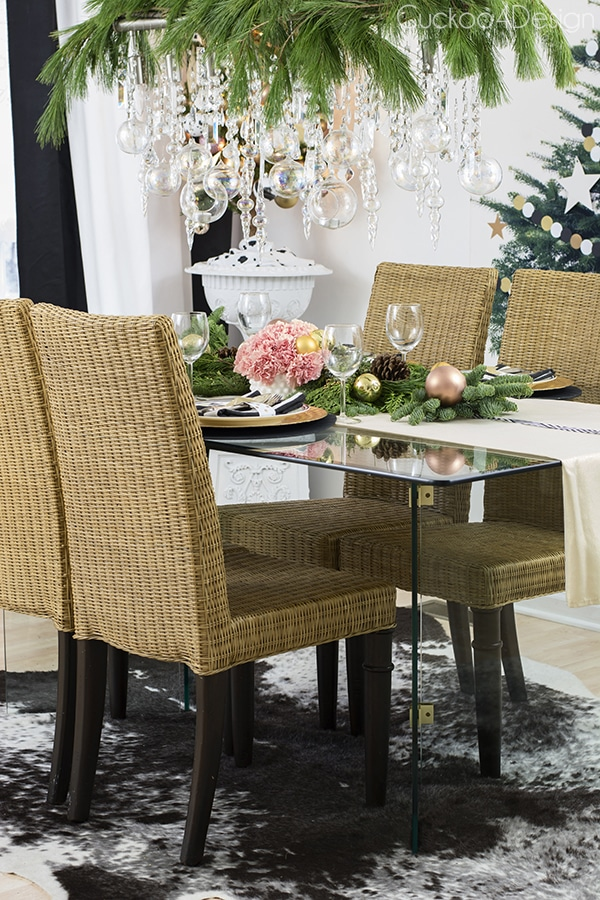 Christmas dining room with ornament chandelier