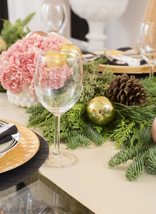flower centerpiece for Christmas dining table